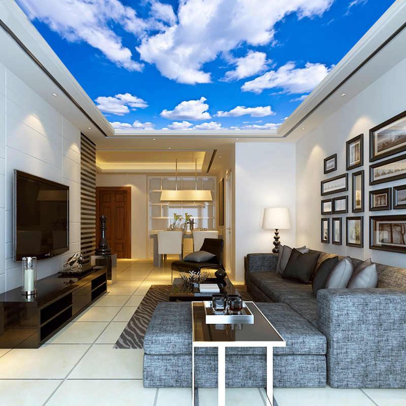 العرف سقف خلفية السماء الزرقاء White البيضاء الجداريات لغرفة المعيشة غرفة نوم سقف حائط الخلفية جدارية خلفية