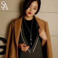 SA SILVERAGE 925 argent Sterling Long colliers pendentif pour les femmes bijoux fins larme chandail chaîne 2018 nouveauté