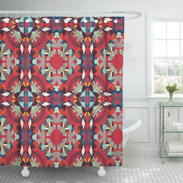 Shower Curtain Tribal Pattern Boho Red Blue Shapes Abstract African Arabic Batik Carpet Diagonal Bathroom