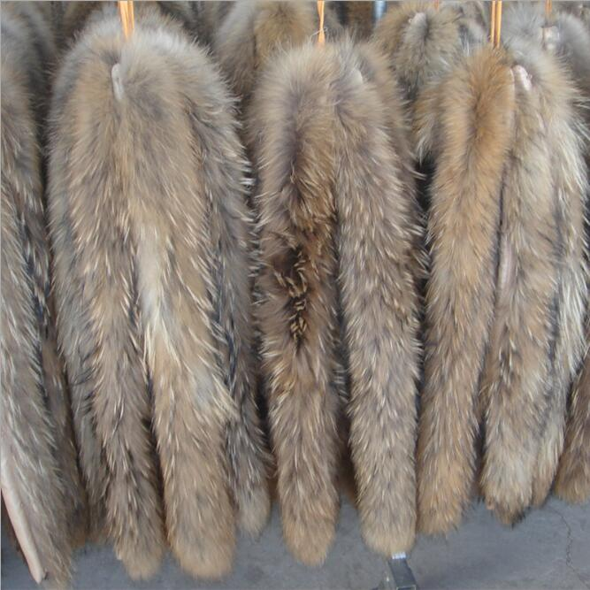 Real Fur Collar 100% Genuine Raccoon Fur Scarf 70cm Winter For Women Men Clothes Collar Used Hot Selling Button Free