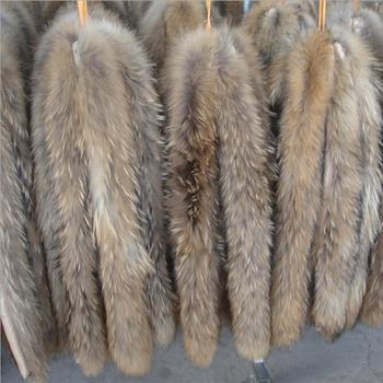 Real fur collar 100% genuine raccoon scarf 70cm winter for women men clothes used hot selling button free