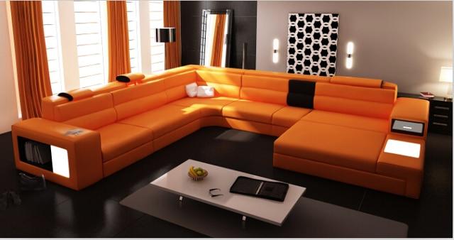 Mobili Soggiorno Angolari : Moderno divani angolari in pelle per mobili soggiorno con pouf in