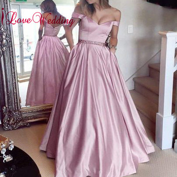 New Fashion 2018 Sweetheart Off the Shoulder Waist Beaded Custo made Pink Satin A Line Elegant Evening Prom Gown
