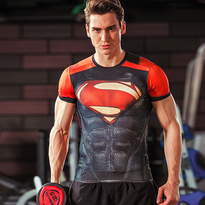 Superman cosplay Men Superelastic T-Shirts 3D printing t shirt Avengers Gym Crossfit Training Exercise Tops tee Large size S-4XL