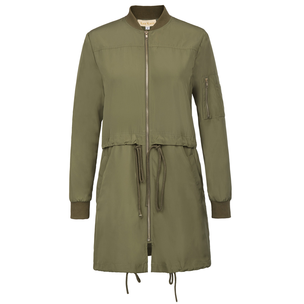 Kate Kasin Fashion Casual Long   Trench   Coat Womens Army Green Long Sleeve With Pocket Autumn Winter Outerwear Windbreaker Clothes