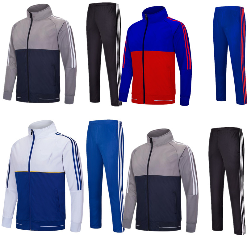Adult and kids Customized soccer tracksuit winter football training uniforms long sleeve jacket suit pants 6808