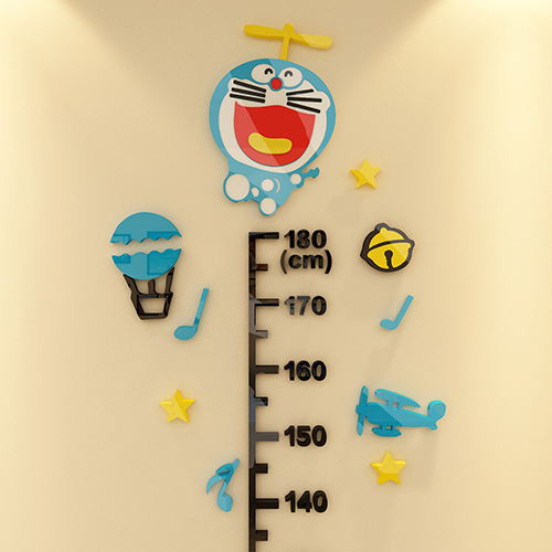 Doraemon 3D Acrylic Wall Sticker Cute Cartoon Kids Room Decoration Measurement Height Posted Adesivos De Parede Muursticker