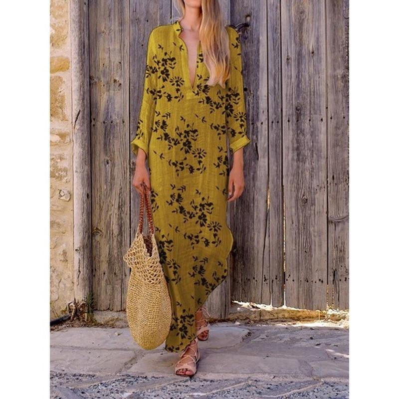 2019 Mode V Ansatz Digital Gedruckt Kleid Rüschen Lose Plus Größe Lang Hülse Strand Kleid Vintage Party Lange Kleider Vestidos 5xl Modern Und Elegant In Mode