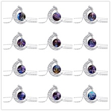 10 New Half Moon Time Pendant Necklace amulet Animal Zodiac Necklace Animal 12 Constellation Sign Crescent Necklace Jewelry gift animal zodiac monkey choke necklaces new life rabbit alloy clavicle pendant chocker necklace wedding bride gift