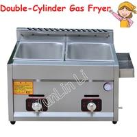 Gas Deep Fryer Double Gas Fryer Two Tanks Frying Machine Energy Saving Fryer Kitchen French Fries Machine JX 11