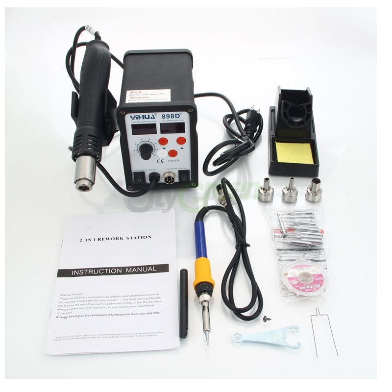 цена на YIHUA 898D+ 2in1 SMD Rework Soldering Station Solder Iron with Heat Hot air Gun ESD Tips BGA Hot Air Nozzl