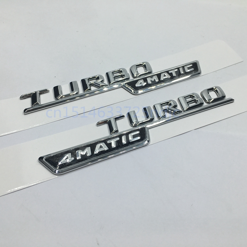 Uppsättning av 2 för Mercedes Benz AMG ML GLk TURBO 4MATIC Emblem Badge Dekal Trunk Bak Krom Brev