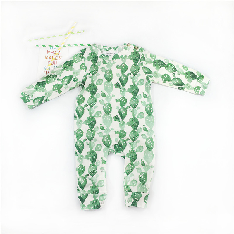 EnkeliBB Clearance Cactus Print Full Sleeve Rompers Baby Boys Fashion Green Jumpsuits Cotton Printed Clothes For Toddler Baby