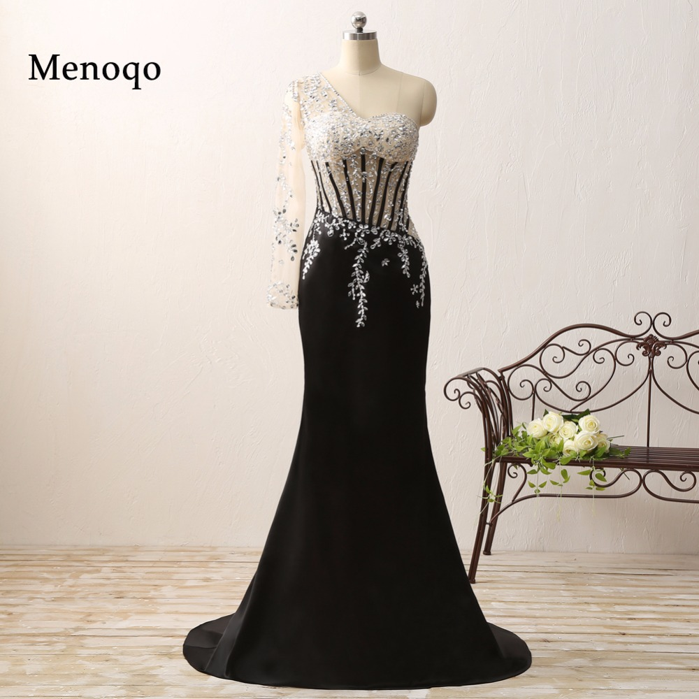 vestido de formatura New Design Real Picture Special occasion Applique Beaded One sleeve Black long mermaid prom dress 2019