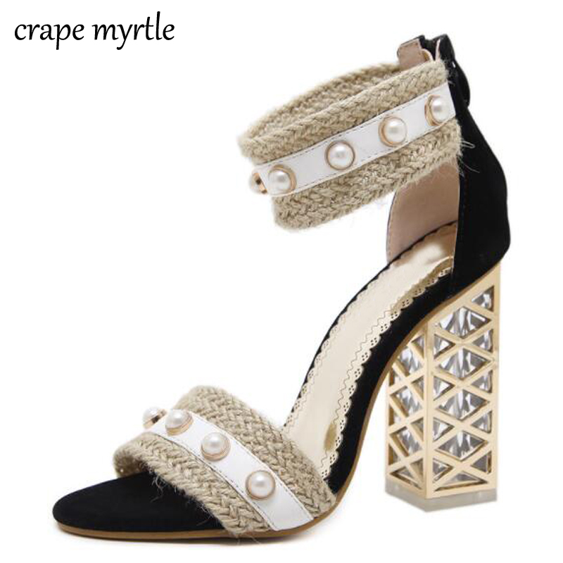 straw sandals Ankle Strap heels summer women sandals Peep Toe pumps Chunky High Heels sandalias mujer Bohemia sandals YMA194 summer new pointed thick chunky high heels closed toe pumps with buckle ankle wraps sweet sandals women pink black gray 34 40