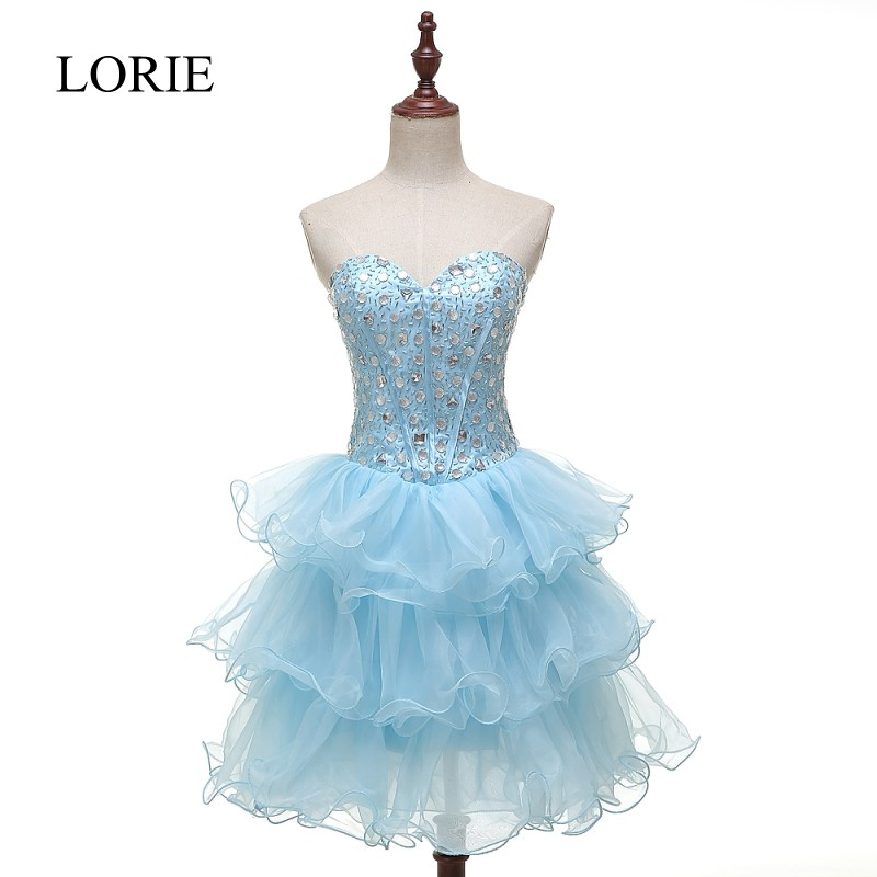 Ball Gown Ruffles Short   Prom     Dresses   Vestidos De Noche Sweetheart Crystals Light Blue Homecoming Cocktail Party   Dress
