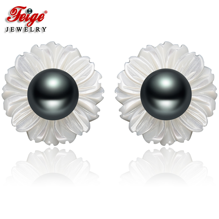 FEIGE 6-7mm Black Freshwater Pearls Brincos 925 Silver Shell Carvings Stud Earrings For Womens Exclusive Design Fine Jewelry