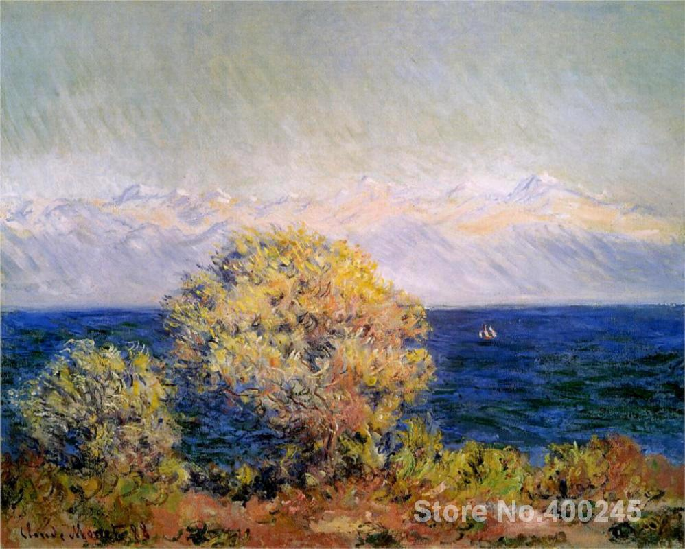 Christmas Gift art on Canvas At Cap d Antibes Mistral Wind by Claude Monet Painting High Quality Handmade