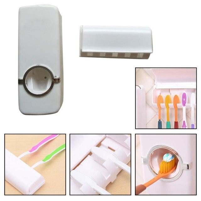 White Wall Mount Toothbrush Holder Auto Toothpaste Dispenser Squeezer Set