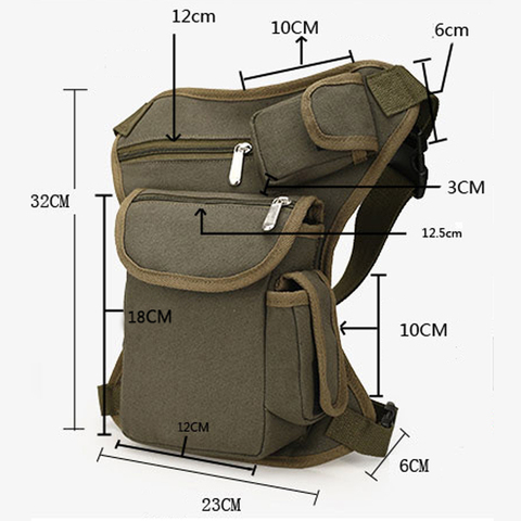 Multi-functional Unisex Canvas Military Tactical Travel Hiking Motorcycle Cycling Leg Bag Pack Outdoor Fishing gear Waist Bags Islamabad