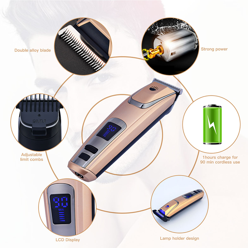 Kemei Professional Cordless Beard Hair Cutter Blade Trimer LCD Shaving Machine Barber Scissors Grooming Kits Comb Length Setting rechargeable hair clipper beard trimer with white color low noise hair cutter shaver comb shaving machine grooming for men