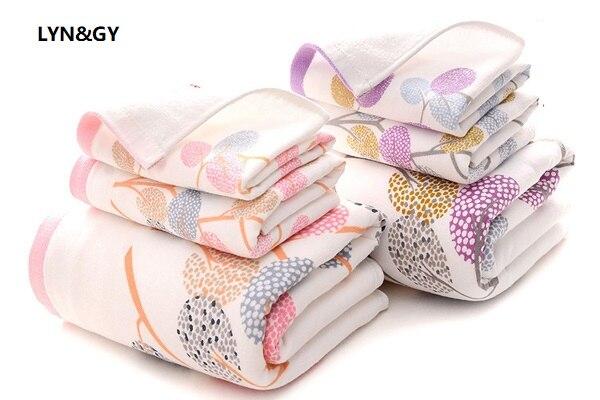 LYN & GY, новинка, роскошные листья, марля, хлопок, ткань, набор полотенец, банное полотенце s для взрослых женщин/детей, полотенце для лица для ва