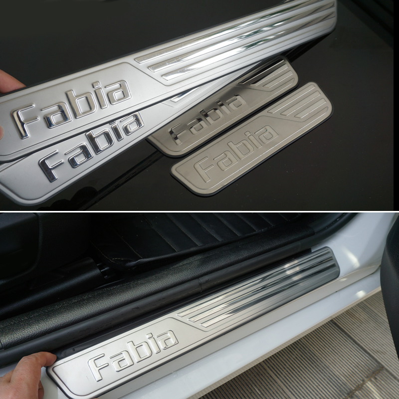 free shipping car accessories stainless steel scuff plate door sill for skoda fabia 2009 2016. Black Bedroom Furniture Sets. Home Design Ideas
