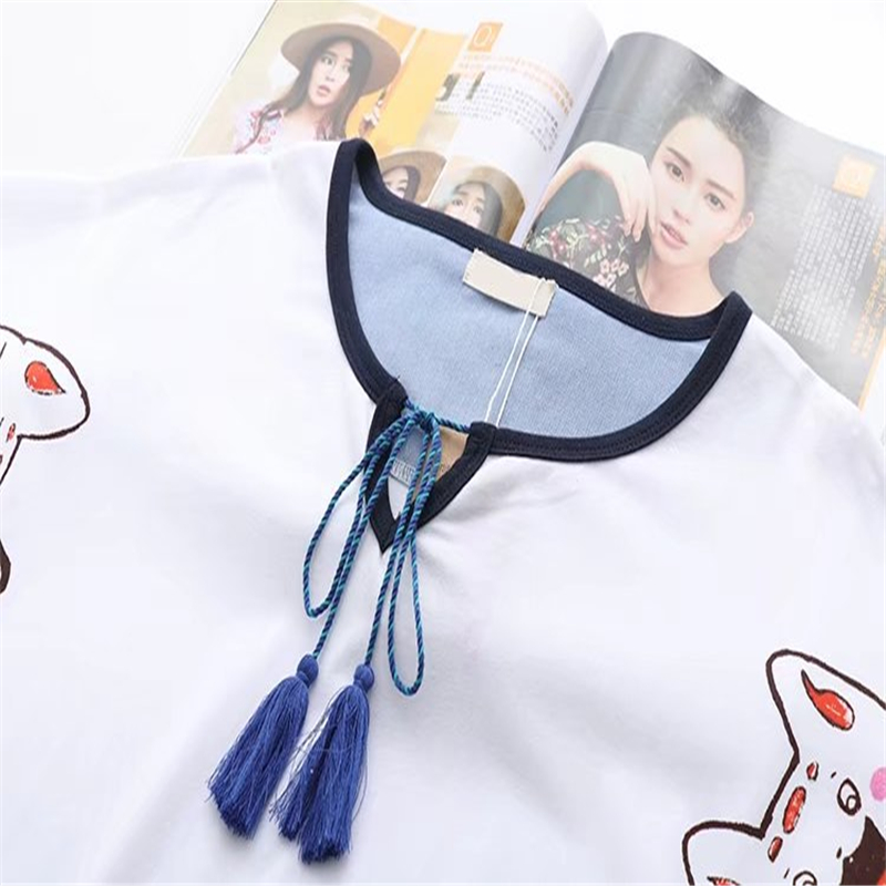 Women Cartoon Lucky Cat Print Japan Style Harajuku T Shirts 2019 Summer Short Sleeve O-Neck Cotton Tops Tees Femme Capes T Shirt
