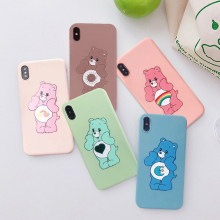 GYKZ INS Korea Care Bear Rainbow Cute Cartoon Case For iPhone 7 XS MAX XR X 8 6 6s Plus Fashion Soft Silicone Phone Cover Fundas