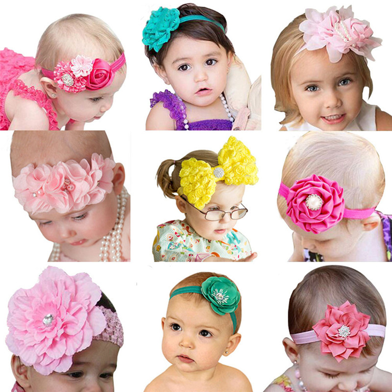 stylish 9 Style Kid Girl Baby Toddler Infant Flower Headband Hair Band (without retail package) accessoire cheveux #