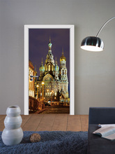 Russia Castle England Big Ben 3D Door Sticker  Wall Mural Art Wallpaper Poster Stickers Self Adhesive Removable Home Door Decals