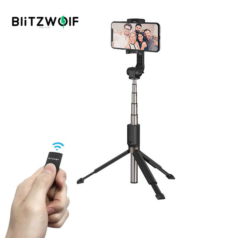 BlitzWolf 3 in 1 Selfie Stick Portable Phone Tripod Extendable Monopod + bluetooth Remote for iPhone X Smartphone Sports Camera