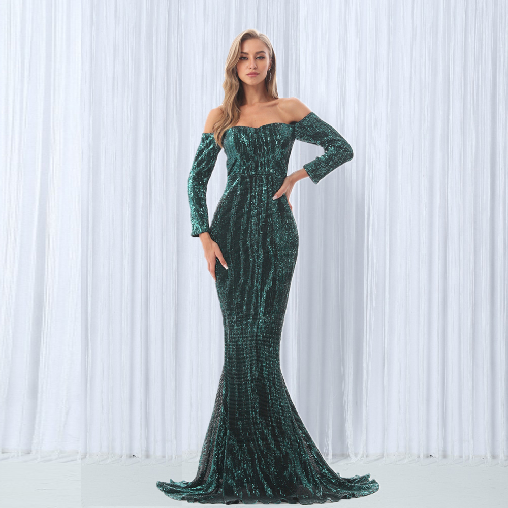 Sequined Maxi Dresses Green Navy Blue Slash Neck Floor Length Party Dress Sexy Maxi Dress Off The Shoulder Maxi Dress Dresses     - title=