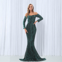 Sequined Maxi Dresses Green Navy Blue Slash Neck Floor Length Party Dress Sexy Maxi Dress Off The Shoulder Evening Gown Dress