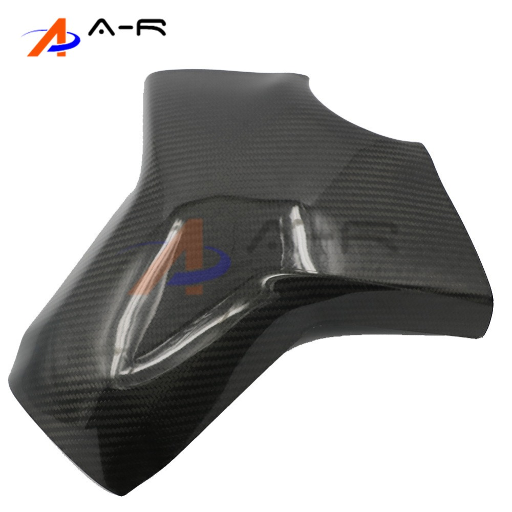 Motorcycle Black Carbon Fiber Fuel Gas Trim Fairing Tank Cover For Yamaha MT-09 FZ-09 MT09 FZ09 2014 2015 2016 black color motorcycle accessories carbon fiber fuel gas tank protector pad shield rear carbon fiber for kawasaki z1000 03 06