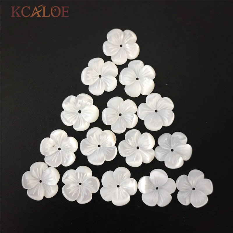 KCALOE 10PCS 8mm-14mm Shell Beads White Natural Mother Of Pearl Shell Flower Texture Curved DIY Jewelry Making Accessories