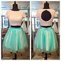 O Round Neck Short Sleeves Beautiful Pearls Keyhole Lining Tulle A Line Two Pieces Crop Top 2 Pieces Homecoming Dresses 2015