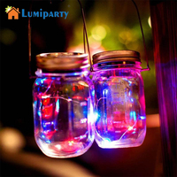 LumiParty LED DIY Light String Battery Operated Solar Mason Jar Deksel Insert Koper Fairy Strip Draad Outdoor Party Decoratie