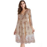 Mesh Sequin Party Dress Women V Neck Long Sleeve Loose Casual Midi Women Dress Vestido