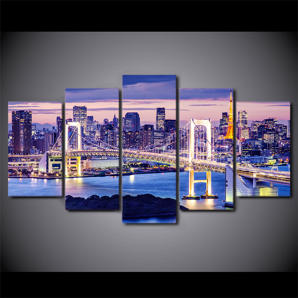 5 Panel Framed HD Printed Sunset Bridge Tokyo Night Wall Art Canvas Modern Painting Poster Picture For Home Decor