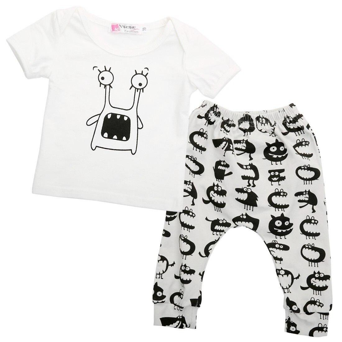 2pcs Newborn Toddler Baby Boys Outfits T-shirt Tops + Long Pants Kids Clothes Sets Wholesale