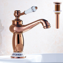 Rose Golden Basin Faucet Bathroom Vanity Sink Mixer Taps with Free Shipping Overflow Pop Up Drain