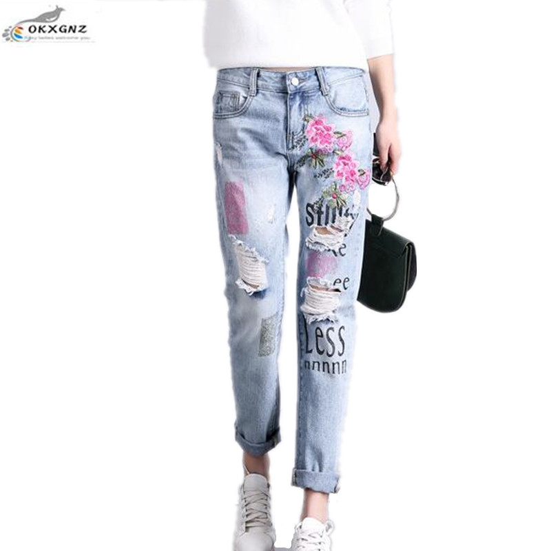 OKXGNZ Embroidered Jeans Women 2017 New Nine pants Embroidery old Worn Holes Summer Jeans Spring Large size Loose Trousers Women