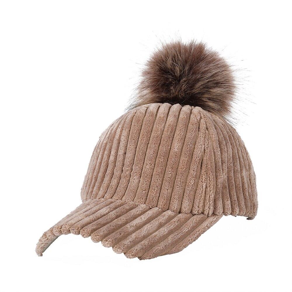New Corduroy   Baseball     Cap   With Faux Fur Pompon Suede Hat Winter Warm Women   Baseball     Caps   Casual Fashion Hip Hop Snapback Hats