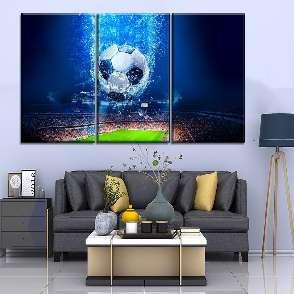 Home Decor Wall 1 Pieces Stadium Football Match And Abstract Football Painting Modern High Quality Canvas Print Pictures Artwork in Painting Calligraphy from Home Garden