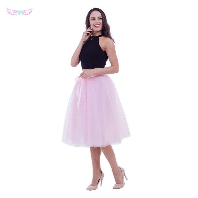 Nueva Puff girls gasa Tulle falda Rosa alta cintura Midi longitud de la rodilla  de gasa d68a85c498fb