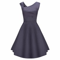 Women Retro 1950s Style Sleeveless Slim Business Casual Party A Line Dress Pure Color Big Code