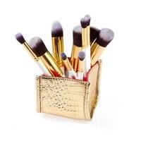 New Professional 10Pcs Cosmetic Makeup Tool Powder Foundation Brush With Grade Golden Alligator Pattern PU Box