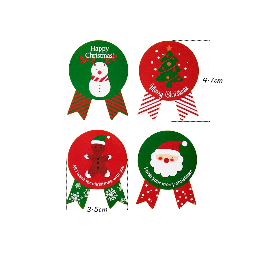 Купить с кэшбэком 80pcs/lot Red&Green Happy Christmas Medal Seal Stickers For DIY Baking Gift Package Seal Stickers Medal Shape Decor Scrapbooking