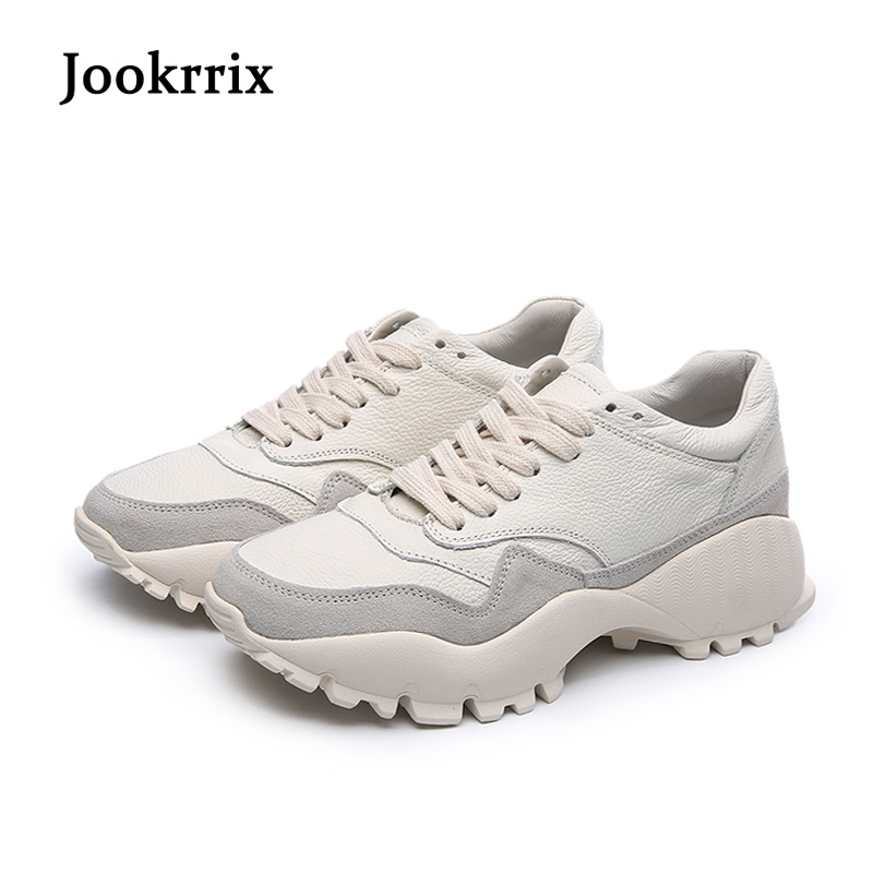 Jookrrix New Arrival Spring Fashion Lady Casual White Shoes Women Sneaker Leisure Shoes Genuine Leather Casual Flats Cross-tied